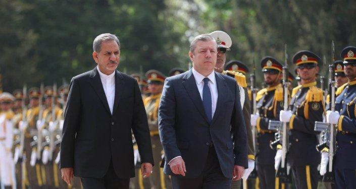 ირანის პირველი ვიცე–პრეზიდენტი ესჰაყ ჯაჰანგირი და საქართველოს პრემიერ–მინისტრი გიორგი კვირიკაშვილი
