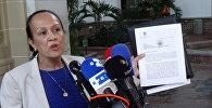Кармен Веласкес, временный представитель Венесуэлы при Организации американских государств (ОАГ), обращается к средствам массовой информации после того, как он направил письмо Генеральному секретарю ОАГ Луису Альмагро, официально приступив к процессу выхода из регионального органа
