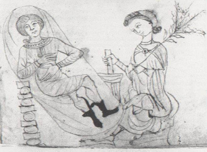 XIII საუკუნის ნახატი, ქალი ორსული ქალისთვის ფილაში  ქვასანაყით ამზადებს პიტნის მიქსტურას