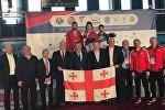 Грузинские самбисты Паата Гвиниашвили, Нино Одзелашвили и Леван Берберашвили