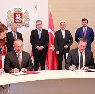 Подписание соглашения между Мевлютом Чавошуглу и Михаилом Гиоргадзе