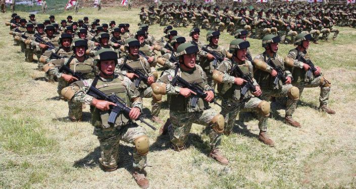 Военнослужащие в ходе обучения на военной базе Минобороны Грузии