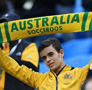 Болельщик сборной Австралии во время матча Кубка конфедераций-2017