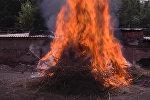 Героиновый смог — в Бишкеке сожгли 3,5 тонны наркотиков