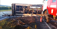 Крупное ДТП: КамАЗ столкнулся с пассажирским автобусом