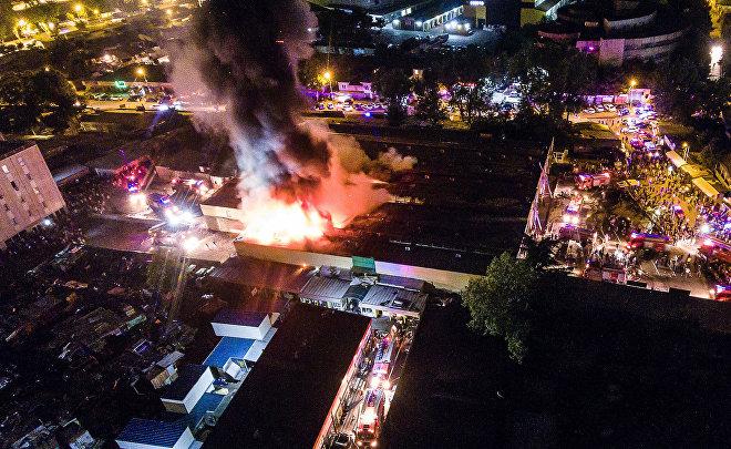 Пожар в павильоне автозапчастей, масел и автомобильных аксессуаров на рынке Элиава