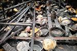 Последствия пожара на вещевом рынке в Поти