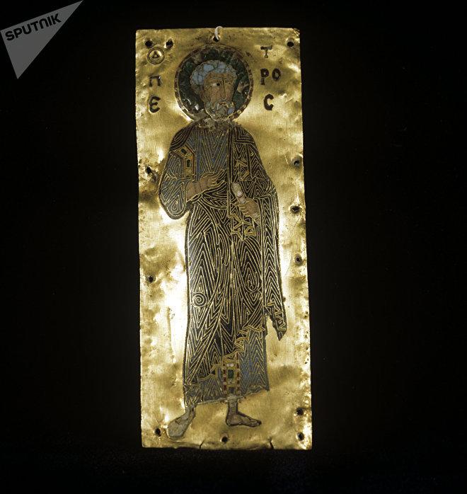 Икона Апостол Петр. XI век. Грузинская перегородчатая эмаль