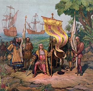კოლუმბი აღმოჩენილ მიწას ესპანეთის საკუთრებად აცხადებს. 1893 წლის ილუსტრაცია