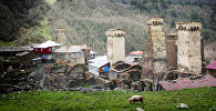 Высокогорное село Ушгули в Грузии.