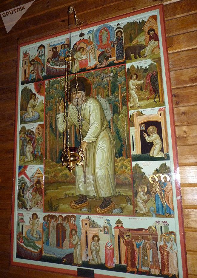 Икона Павла Бусалаева Преподобный Серафим Саровский с житием