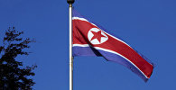 Флаг Северной Кореи на мачте в Постоянном представительстве Северной Кореи в Женеве
