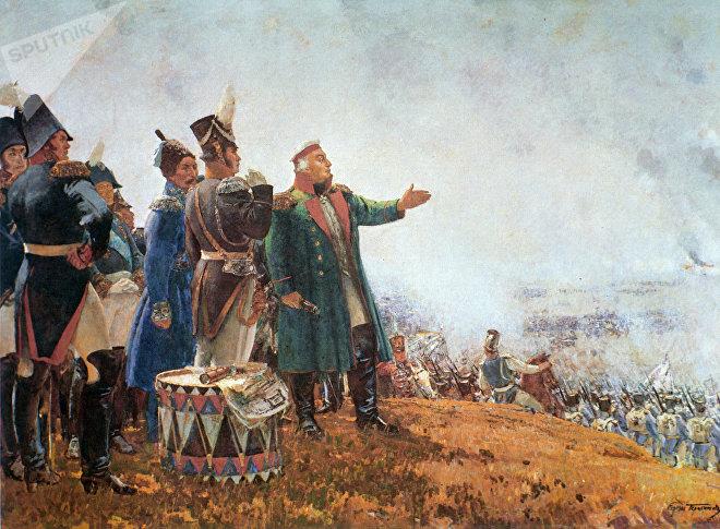Репродукция картины М. И. Кутузов на Бородинском поле