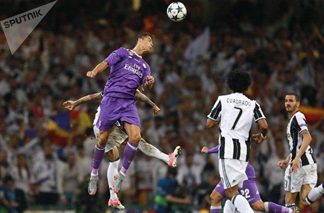 Игрок ФК Реал Мадрид Криштиану Роналду в финальном матче Лиги Чемпионов по футболу сезона 2016/17