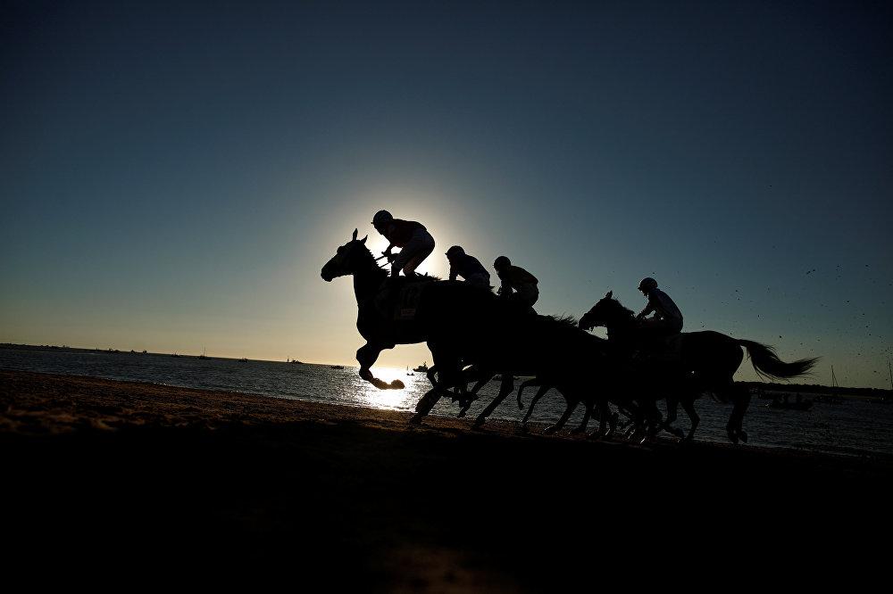 Жокеи во время традиционной гонки вдоль пляжа Санлукар-де-Баррамеда, на юге Испании