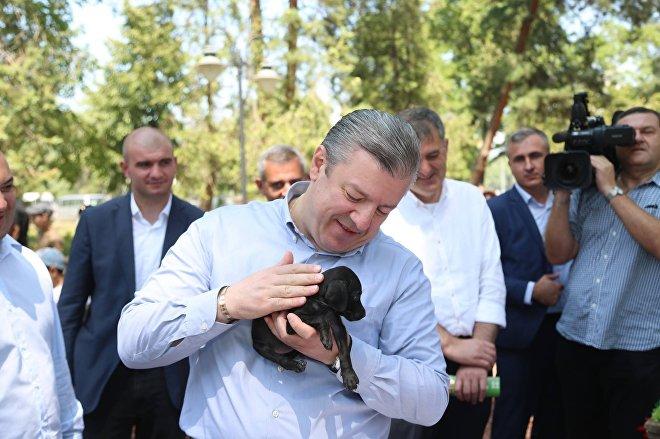 Премьер-министр Грузии Георгий Квирикашвили с щенком в руках