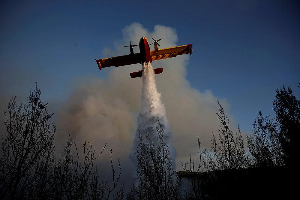 В составе ВВС Греции имеется 18 пожарных самолетов Canadair – 11 типа CL-215 и семь CL-415, но, по данным СМИ, использоваться могут лишь 6, остальные требуют ремонта. На фото - пожарный самолет сбрасывает воду на лесной пожар около деревни Меточи