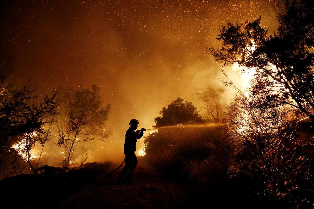Ранее источники в правительстве Греции заявили РИА Новости, что из-за финансовых проблем не могут купить российскую пожарную авиатехнику, но Афины предложили создать странам Евросоюза совместное подразделение пожарной авиации для быстрого реагирования на пожары. На фото - пожарный пытается остановить распространение огня возле деревни Каламос