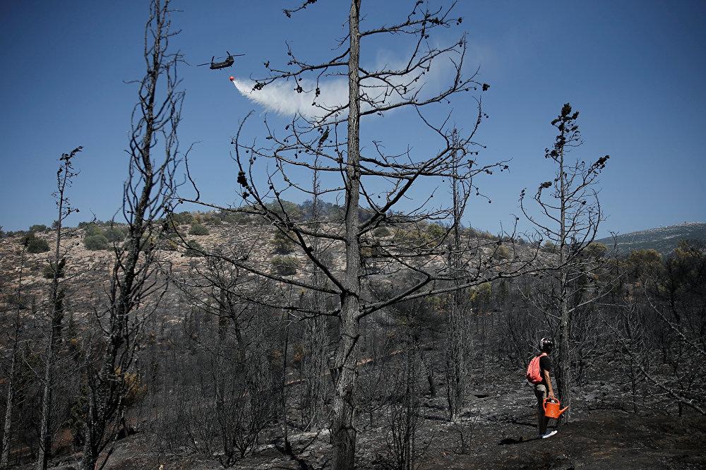 Вертолет Chinook сбрасывает воду над затухающим лесным пожаром на фоне сгоревших деревьев недалеко от Афин. Большая часть специальной пожарной авиации в Греции уже устарела — например, самолеты CL-215 летают уже 40 лет