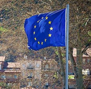 ევროკავშირის დროშა თბილისის ერთ-ერთ ქუჩაში