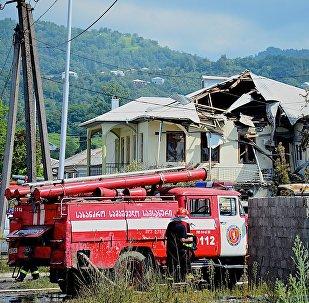 გასგასამართი სადგურის აფეთქების შედეგად დანგრეული სახლი