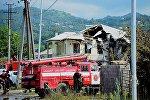 Разрушенный в результате взрыва на газозаправочной станции жилой дом