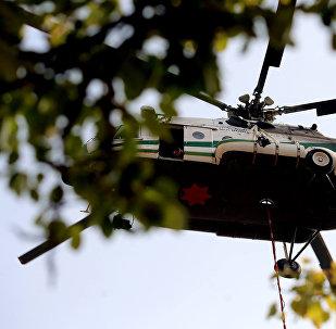 """ვერტმფრენი """"მი-8"""" ბორჯომის ტყის თავზე"""