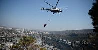 Вертолет тушил пожар в Тбилиси: как горел склон горы Мтацминда