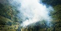 Лесной пожар в высокогорной Аджарии тушат с помощью вертолета