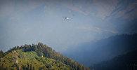 Вертолет участвует в тушении лесного пожара в высокогорной Аджарии