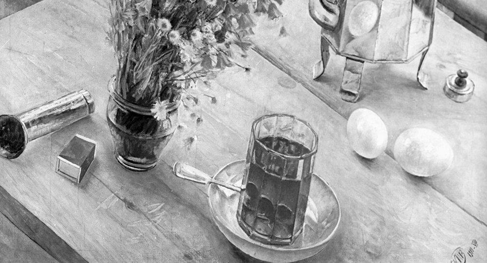 Репродукция картины К.С.Петрова-Водкина Утренний натюрморт