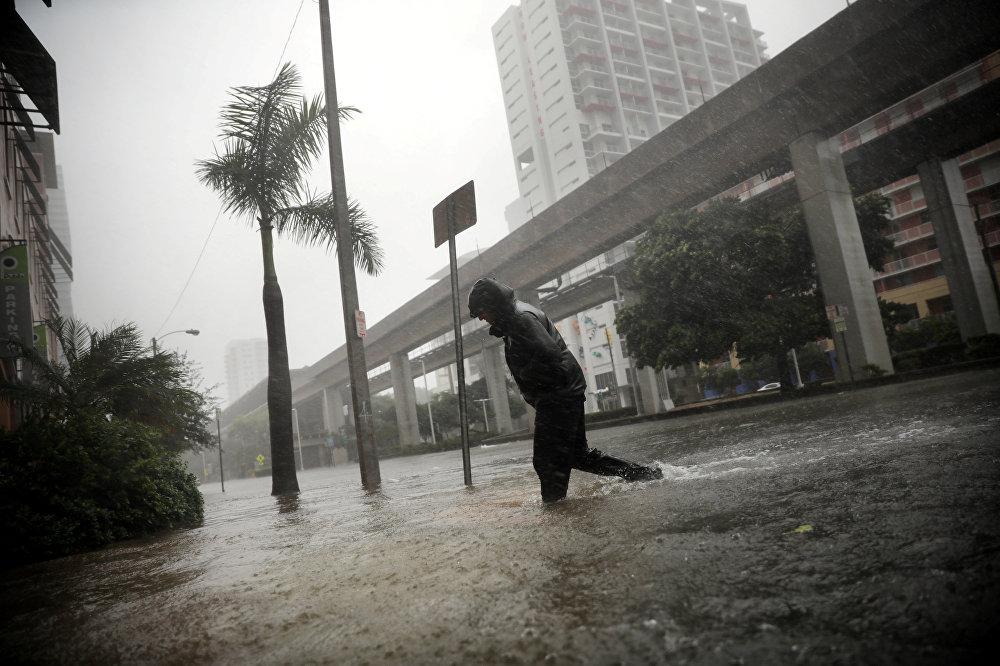 ქარიშხალი ირმას შედეგები მაიამიში - მამაკაცი ქალაქის სამხრეთ ნაწილში ერთ-ერთ დატბორილ ქუჩაზე გადადის