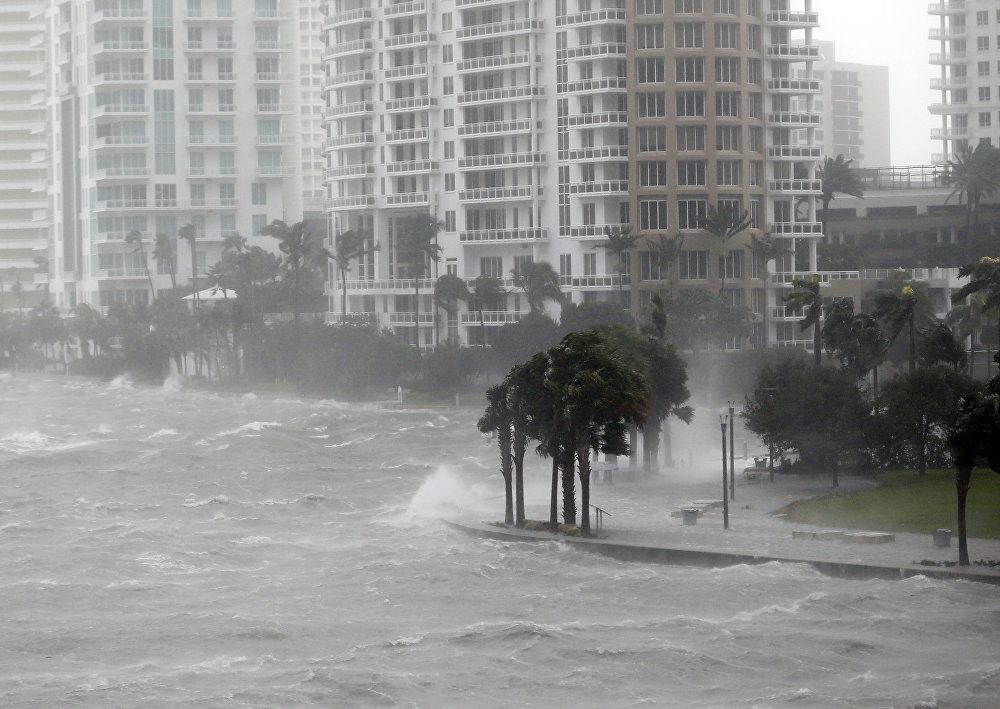 ქარიშხალ ირმას ბისკეინის ყურედან ტალღები მიაქვს ქალაქისკენ