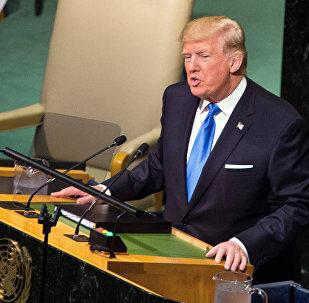 Президент США Дональд Трамп выступает на заседании Генеральной Ассамблеи ООН в Нью-Йорке