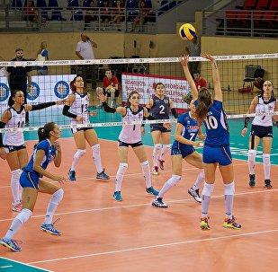 Матч между женскими сборными Грузии и Италии по волейболу в рамках чемпионата Европы