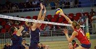 Матч между сборными Грузии и Беларуси в рамках чемпионата Европы по волейболу среди женщин