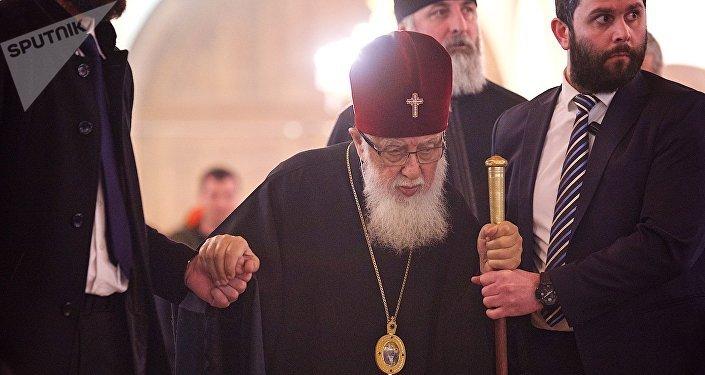 Католикос-Патриарх Всея Грузии Илия Второй в храме Самеба