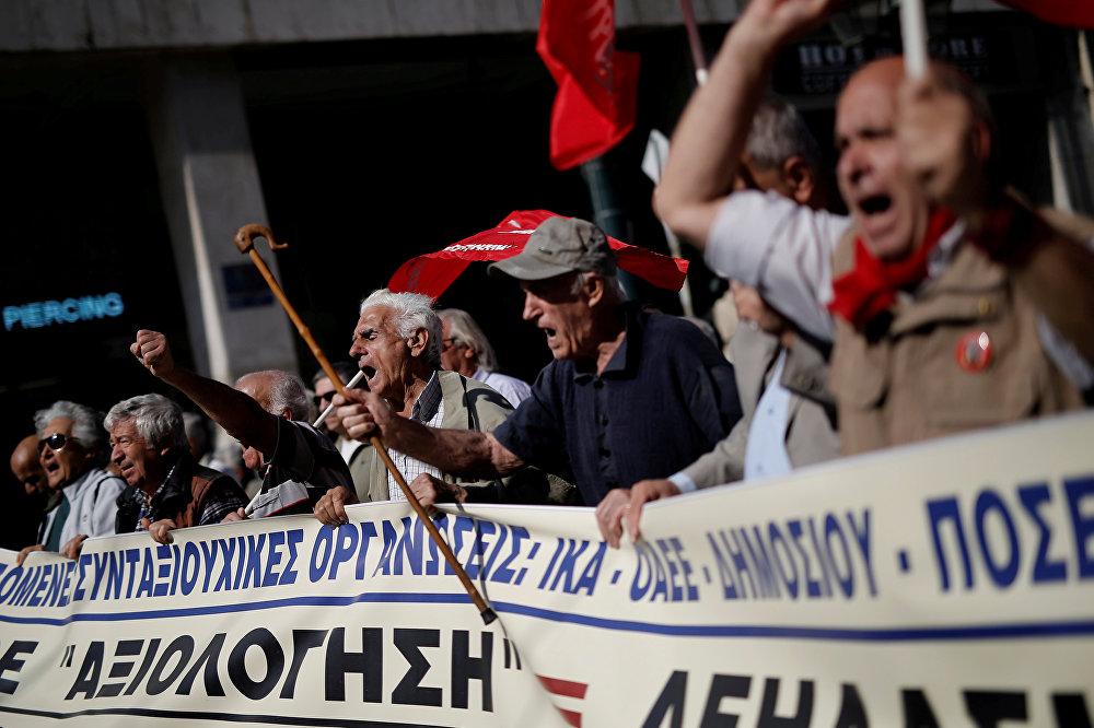 ბერძენი პენსიონრები პენსიის შემცირების წინააღმდეგ დემონსტრაციას მართავენ ათენში