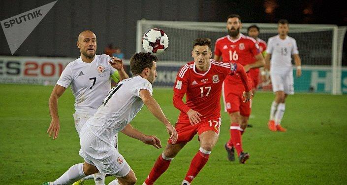 Матч между сборными Грузии и Уэльса по футболу