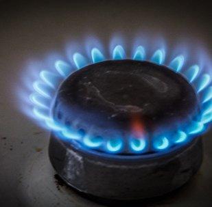 Включенная конфорка на газовой плите