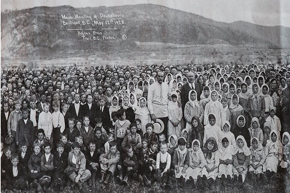 Архивный снимок 1928 года из домашнего архива Батуриных: духоборцы в Канаде