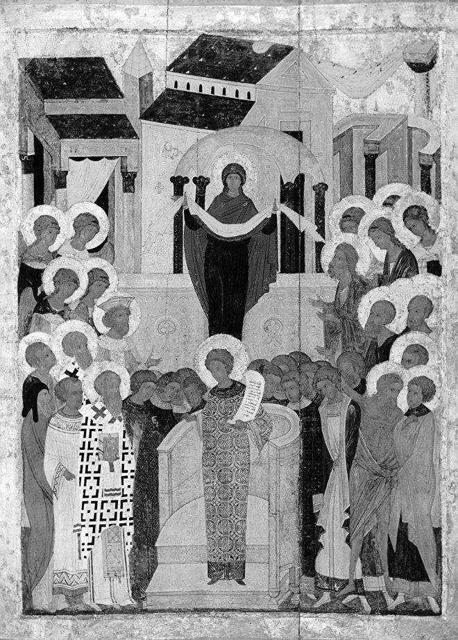 Репродукция иконы Покров Богоматери (XV век)