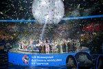 Театрализованное представление на церемонии открытия XIX Всемирного фестиваля молодежи и студентов (ВФМС) в Ледовом дворце Большой в Сочи
