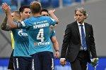 Игроки ФК Зенит радуются победе в матче 2-го тура чемпионата России по футболу