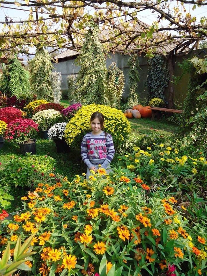 შორენა კოჭლამაზაშვილის ქალიშვილი ყვავილების ბაღში