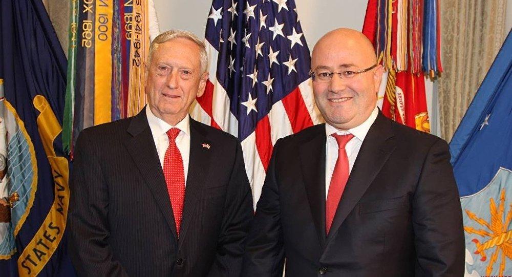 Глава Пентагона Джеймс Мэттис и министр обороны Грузии Леван Изория