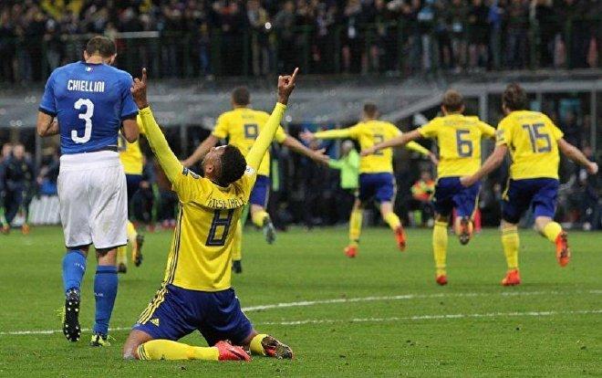Футбольный матч Италия – Швеция, выход шведов на чемпионат Мира
