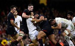 Один из острых моментов матча Грузия-Уэльс в Кардиффе