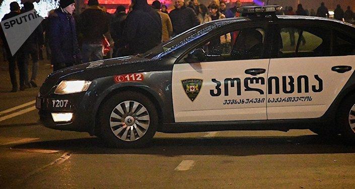 Патрульная полиция на проспекте Руставели в новогоднюю ночь