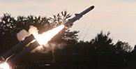 Пуск противокорабельной ракеты БРК Бал в рамках учений Запад-2017